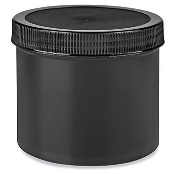 Black Round Wide-Mouth Plastic Jars Bulk Pack - 32 oz S-23750B