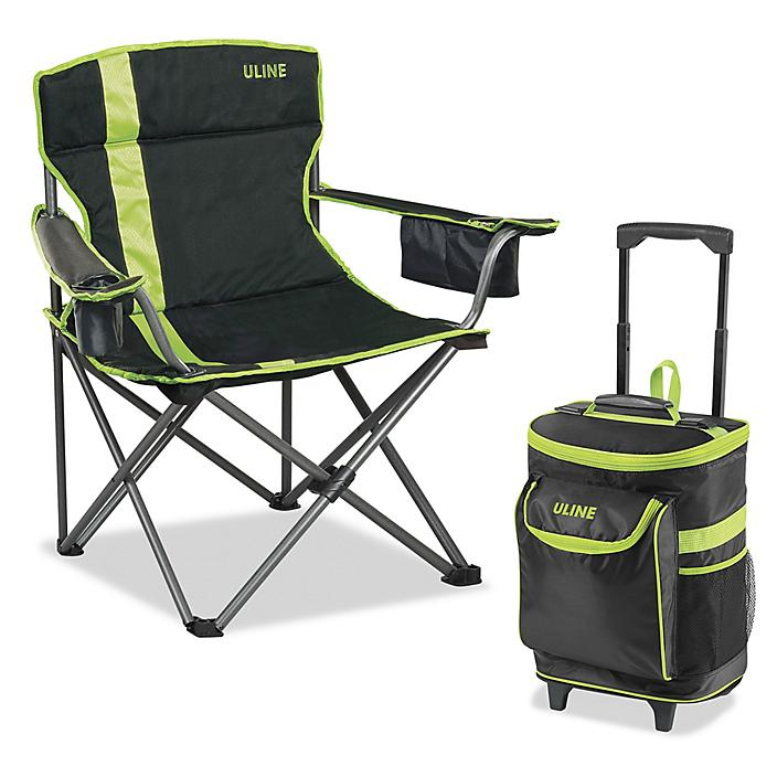 Chair and Cooler Combo - Black/Lime S-23787BL