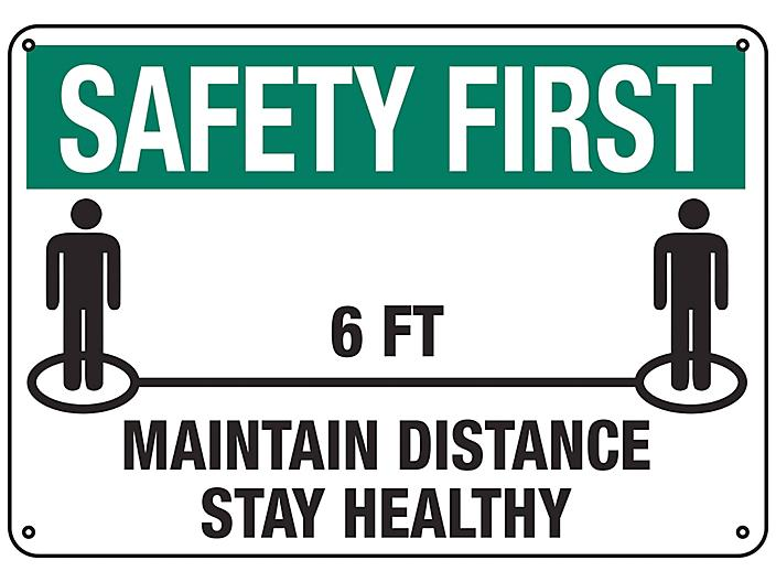 """""""Maintain Distance, Stay Healthy"""" Sign - Plastic S-23801P"""
