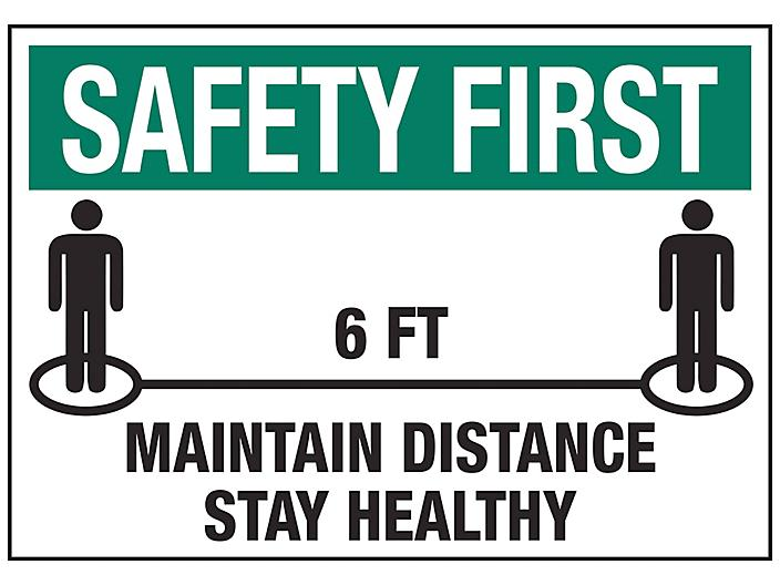 """""""Maintain Distance, Stay Healthy"""" Sign - Vinyl, Adhesive-Backed S-23801V"""