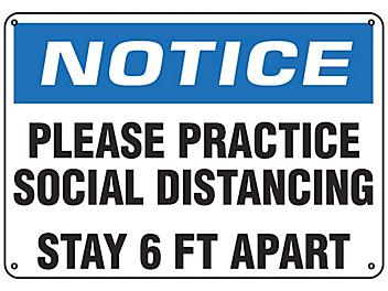 """""""Please Practice Social Distancing, Stay 6 Ft Apart"""" Sign - Plastic S-23802P"""