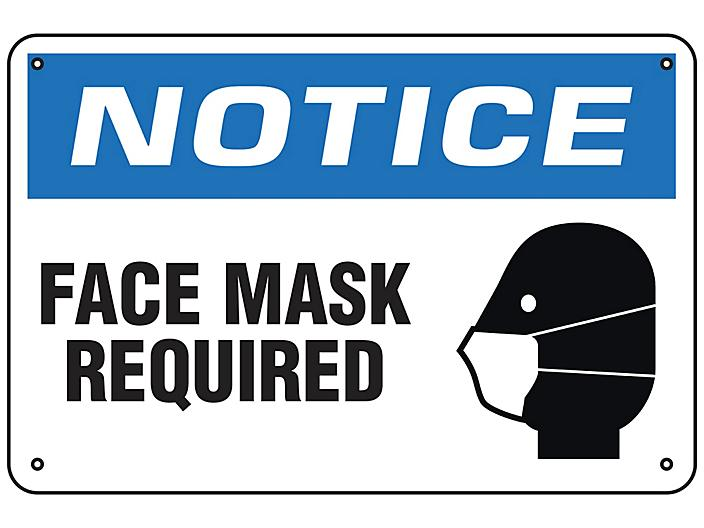 """""""Face Mask Required"""" Sign - Aluminum S-23803A"""