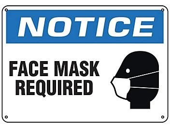 """""""Face Mask Required"""" Sign - Plastic S-23803P"""
