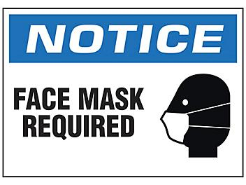 """""""Face Mask Required"""" Sign - Vinyl, Adhesive-Backed S-23803V"""