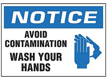 """""""Avoid Contamination, Wash Your Hands"""" Sign"""