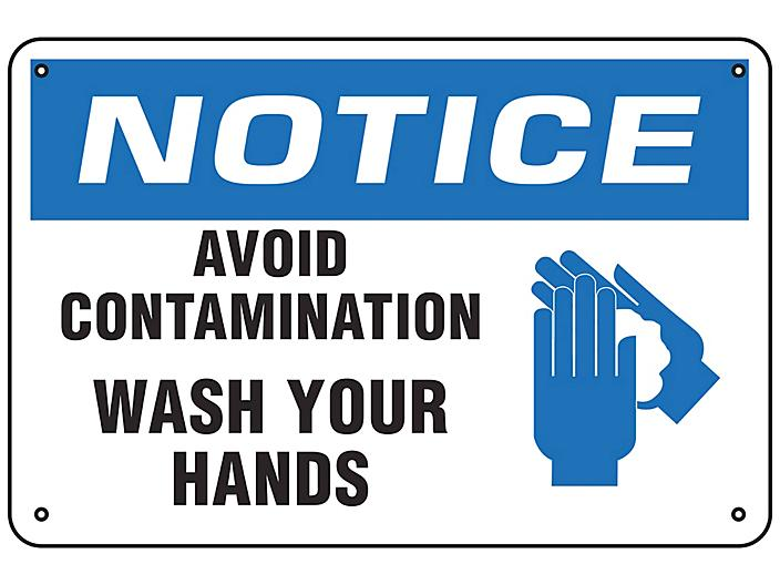 """""""Avoid Contamination, Wash Your Hands"""" Sign - Aluminum S-23804A"""