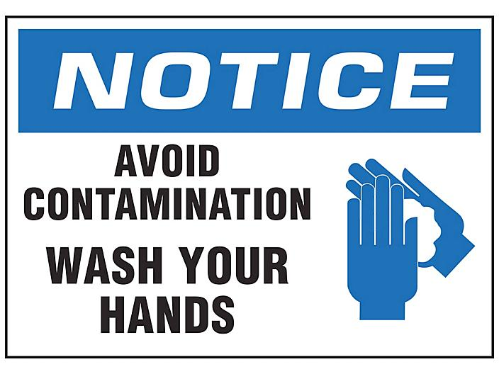"""""""Avoid Contamination, Wash Your Hands"""" Sign - Vinyl, Adhesive-Backed S-23804V"""