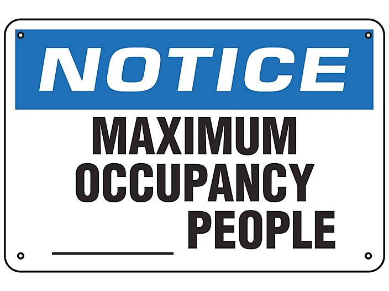 """Maximum Occupancy"" Sign - Aluminum S-23805A"
