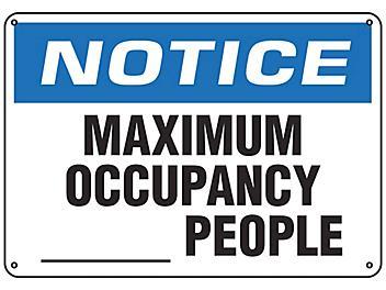"""""""Maximum Occupancy"""" Sign - Plastic S-23805P"""