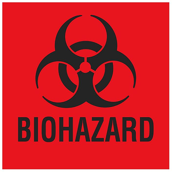 "Biohazard Label - 1 x 1"", Paper S-23824"