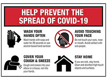 """""""Help Prevent the Spread of COVID-19"""" Sign - Vinyl, Adhesive-Backed S-23830V"""