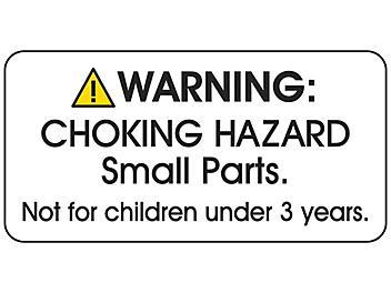 """Choking Hazard Label - """"Not for children under 3 years"""", White S-23841W"""