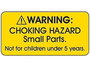 """Choking Hazard Label - """"Not for children under 5 years"""", Yellow S-23842Y"""