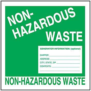 """""""Non-Hazardous Waste"""" Label - 6 x 6"""" S-23852"""