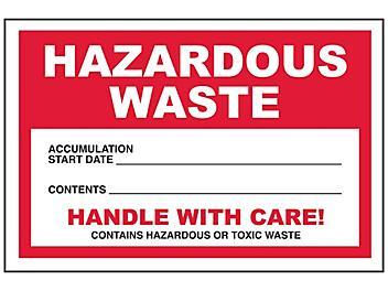 """""""Hazardous Waste"""" Label - Red, Weatherproof, 4 x 6"""" S-23853"""