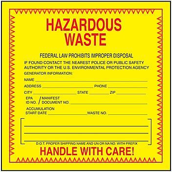 """""""Hazardous Waste"""" Label - Weatherproof, 6 x 6"""" S-23854"""