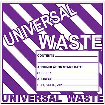 """Universal Waste"" Label - Weatherproof, 6 x 6"" S-23855"