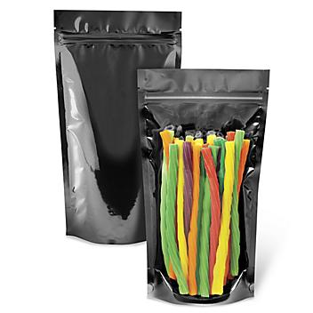 """Ultra Clear Stand-Up Barrier Pouches - 6 x 11 x 3"""", Black Back S-23898BLB"""