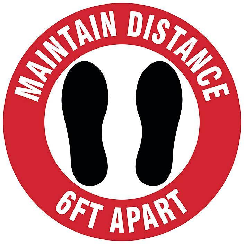 "Anti-Slip Carpet Sign - ""Maintain Distance 6 Ft Apart"", 12"" S-23979"