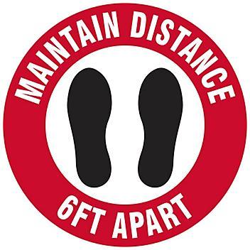 "Anti-Slip Floor Sign - ""Maintain Distance 6 Ft Apart"", 8"" Diameter S-24012"