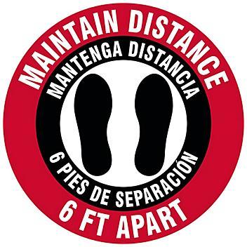 "Bilingual English/Spanish Anti-Slip Floor Sign - ""Maintain Distance 6 Ft Apart"", 8"" Diameter S-24013"