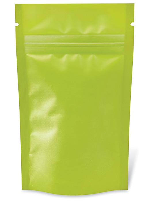 """Matte Stand-Up Barrier Pouches - 3 1/8 x 5 1/8 x 2"""", Lime S-24065LIME"""