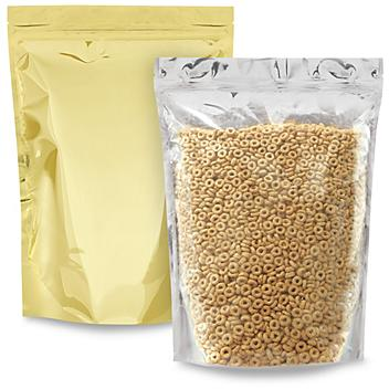 """Glossy Stand-Up Barrier Pouches - 11 3/4 x 15 3/4 x 5 3/8"""", Gold Back S-24067GLDB"""
