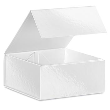 """Magnetic Gift Boxes - 6 x 6 x 2 3/4"""", White S-24094W"""
