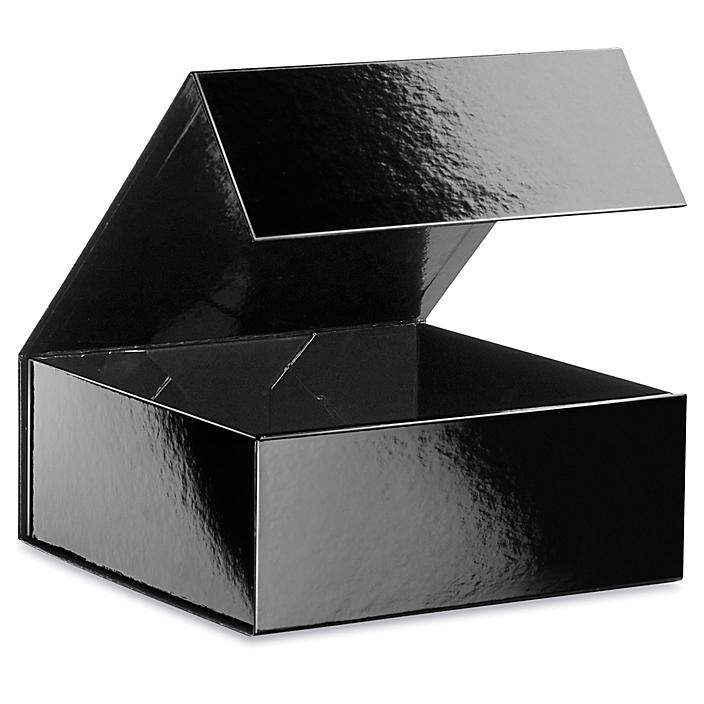 """Magnetic Gift Boxes - 8 x 8 x 3 1/8"""", Black S-24095BL"""