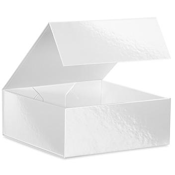"""Magnetic Gift Boxes - 8 x 8 x 3 1/8"""", White S-24095W"""