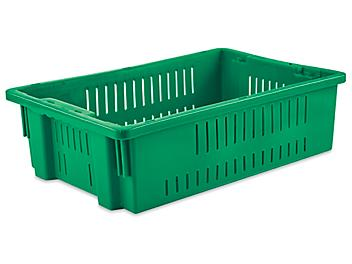 """Ventilated Stack and Nest Container - 20 x 13 x 6"""", Green S-24137G"""