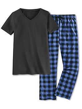 Women's Pajama Set - Blue Plaid, Large S-24165BLU-L