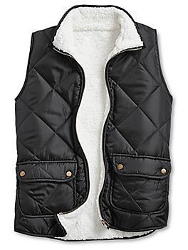 Ladies' Quilted Vest - Black Sherpa, Large S-24167-L