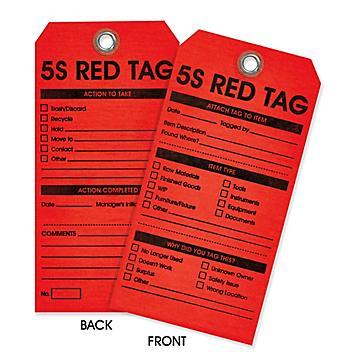 5S Red Tags - Plain S-24170PLAIN