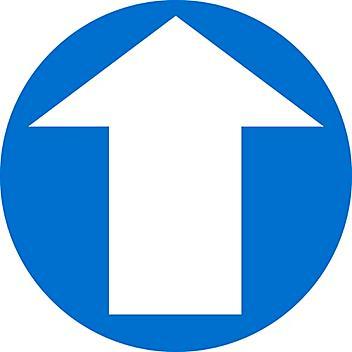 "Anti-Slip Floor Sign - Blue/White Arrow, 17"" Diameter S-24195"