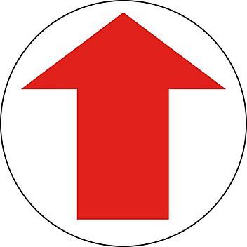 "Anti-Slip Floor Sign - Red/White Arrow, 8"" Diameter S-24199"