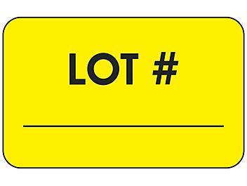 """Production Labels - """"Lot #"""", 1 1/4 x 2"""" S-24229"""