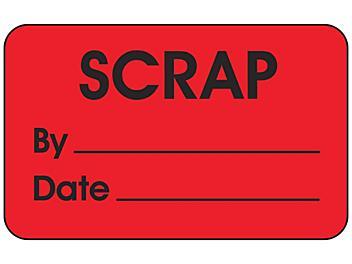 "Production Labels - ""Scrap by _____, Date _____"", 1 1/4 x 2"" S-24235"