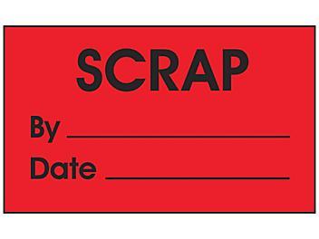 "Production Labels - ""Scrap by _____, Date _____"", 3 x 5"" S-24236"