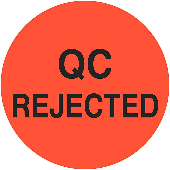 "Circle Inventory Control Labels - ""QC Rejected"", 1"" S-24239"