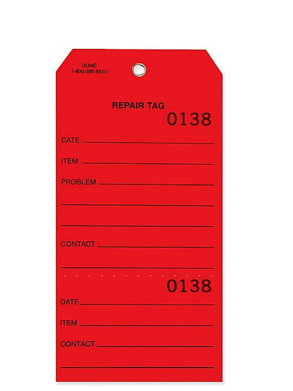 Weatherproof Vinyl Repair Tags - #8, Red S-24268R