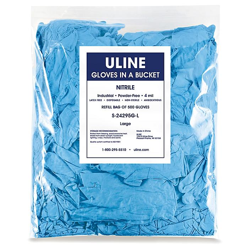 Uline Blue Industrial Nitrile Gloves in a Bucket Refill Bag - 4 Mil, Large S-24295G-L