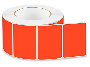 """Removable Adhesive Rectangle Labels - Fluorescent Red, 3 x 2"""" S-24299R"""