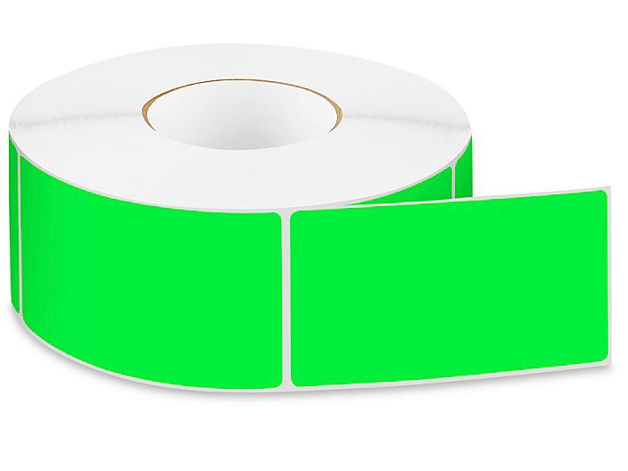 """Removable Adhesive Rectangle Labels - Fluorescent Green, 3 x 5"""" S-24300G"""