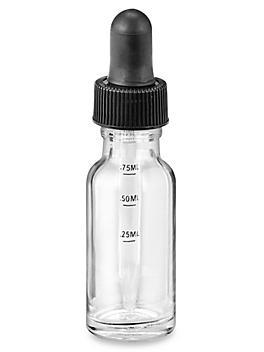 Graduated Glass Dropper Bottles - 1/2 oz, Clear S-24308C