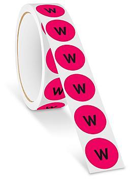 "1"" Circle Labels - ""W"" S-24361"