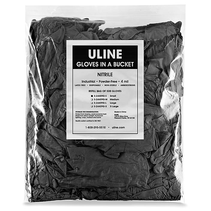 Uline Black Industrial Nitrile Gloves in a Bucket Refill Bag - 4 Mil, Small S-24409G-S