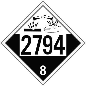 4-Digit D.O.T. Placard - UN 2794 Batteries Wet Filled, Tagboard S-24448T