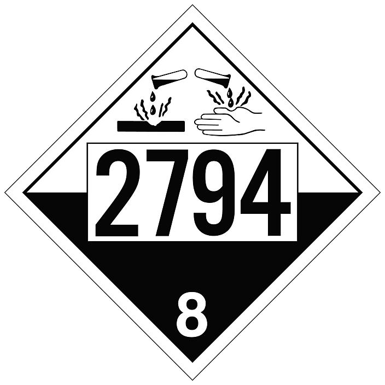 4-Digit T.D.G. Placard - UN 2794 Batteries Wet Filled
