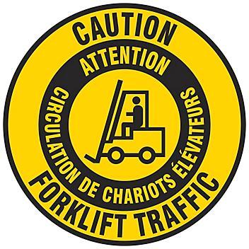 "Bilingual English/French Anti-Slip Floor Sign - ""Caution Forklift Traffic"", 17"" Diameter S-24475"